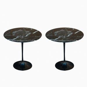 Tavoli Tulip vintage in marmo Nero Marquina e alluminio nero di Eero Saarinen per Knoll International, set di 2