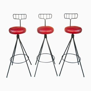 Vintage Faux Red Leather & Black Lacquered Metal Stools, Set of 3