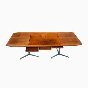 Schreibtisch aus verchromtem Metall, Leder & Nussholz von Osvaldo Borsani für Tecno, 1960er