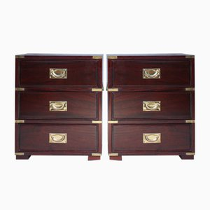 Vintage Campaign Chests of Drawers with 3 Drawers, Set of 2