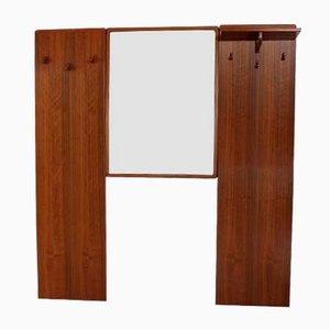 Ensemble Miroir et Porte-manteau Vintage en Teck, 1960s