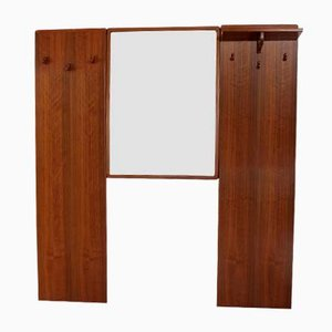 Vintage Teak Garderobe und Spiegel, 1960er