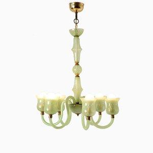 Lámpara de araña de cristal de Murano verde claro de Venini, años 20
