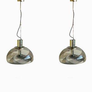 Lampade a sospensione vintage in vetro di Murano di La Murrina, Italia, set di 2