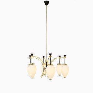 Lámpara de araña de seis luces de Bruno Gatta para Stilnovo, años 50