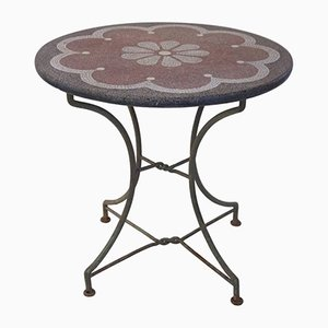 French Granite Top & Iron Side Table, 1970s