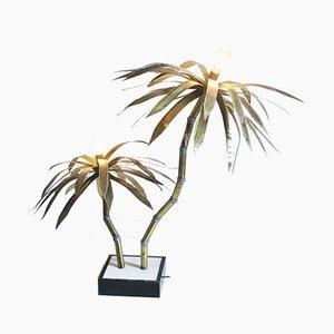 Lámpara de pie brutalista con palmeras, años 70