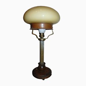 Art Deco Brass & Wood Table Lamp