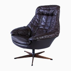 Mid-Century Danish Leather Swivel Chair by H.W. Klein for Bramin