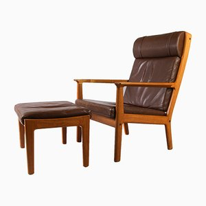 Mid-Century GE265 Leather High Back Armchair & Ottoman by Hans Wegner for Getama