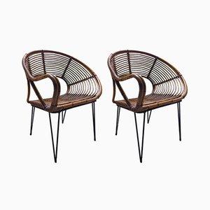 Bambus Armlehnstühle, 1960er, 2er Set