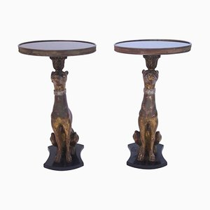 Sculpted Wood & Gilted Brass Side Tables, 1960s, Set of 2