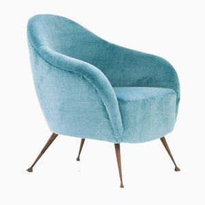Italian Aquamarine Velvet Lounge Chair with Brass Legs, 1950s