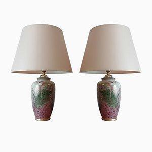 Lámparas de mesa de porcelana china, años 70. Juego de 2