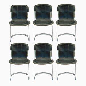 Schwarze Leder Esszimmerstühle von Willy Rizzo für Cidue, 1970er, 6er Set
