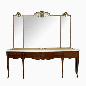 Consolle Mid-Century con specchio, anni '50