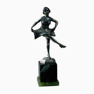Art Deco Silver-Plated Bronze Figurine by Fonderie d'Art H.De Raedt Gand
