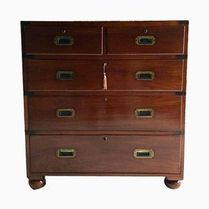Victorian Teak Campaign Chest of Drawers