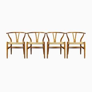 CH24 Wishbone Chairs in Eichenholz & Papierkordel von Hans J. Wegner für Carl Hansen, 1960er, 4er Set