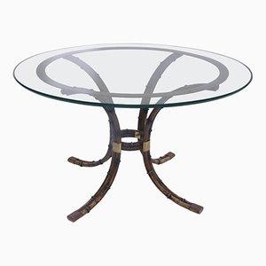 Table Piédestal Bambou & Laiton Doré de Maison Jansen, France, 1970s