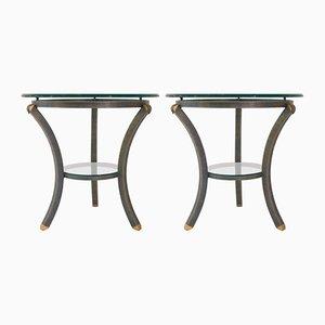 Tavolini in ottone e vetro di Pierre Vandel, Francia, anni '70, set di 2