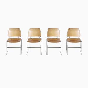Schichtholz Esszimmerstühle von Thomas Tolleson für Krueger, 1970er, 4er Set