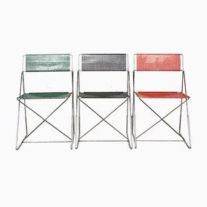 X-Line Chairs by Niels Jørgen Haugese, 1970s, Set of 3