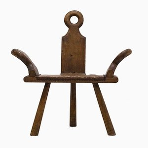 Chaise d'Appoint ou Tabouret Mid-Century Brutaliste, Espagne, 1960s