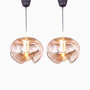 Deckenlampen aus Glas von Peill & Putzler,1960er, 2er Set