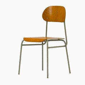 Chaises d'École Empilables Vintage Contreplaqué & Métal, Set de 6