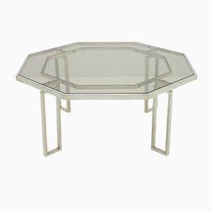 Mesa de centro octagonal con base metálica y tablero de vidrio, años 60