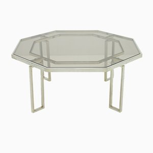 Octagonal Coffee Table with Metal Base and Glass Top, 1960s