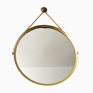 Brass Mirror with Cord Hanger by Vereinigte Werkstätten Collection, 1960s