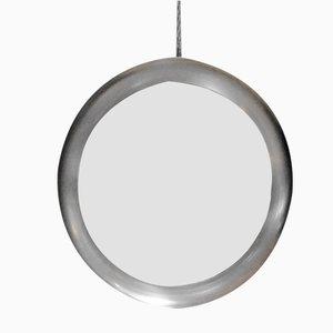 Espejo circular con marco de acero, años 70