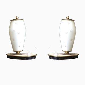 Glas & Messing Nchttischlampen, 1950er, 2er Set