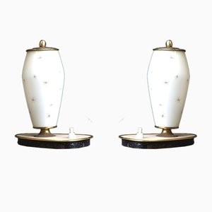 Glass & Brass Bedside Lamps, 1950s, Set of 2