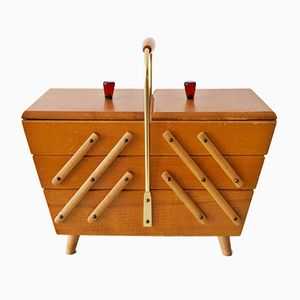Three-Tiered Wooden Sewing Box with Utensils, 1950s