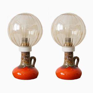 Lampade da tavolo Mid-Century in ceramica, set di 2