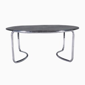 Stone Table with Tubular Steel Frame, 1970s