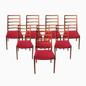 Sedie nr. 82 di Niels O. Møller per J.L. Møllers, anni '70, set di 8