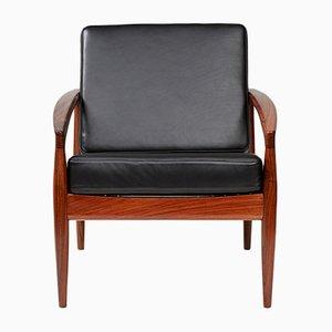 Paper Knife Chair aus Palisander & schwarzem Leder von Kai Kristiansen für Magnus Olesen, 1950er