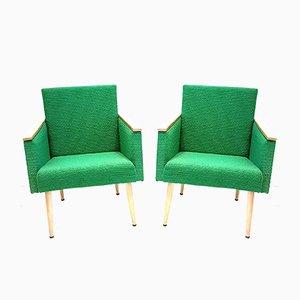 Club chair in faggio naturale e tessuto verde, anni '60, set di 2