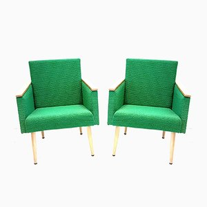 Natural Beech Club Chairs in Green Fabric, 1960s, Set of 2