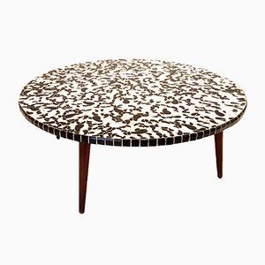Tavolo rotondo in ceramica bianca e nera, anni '50