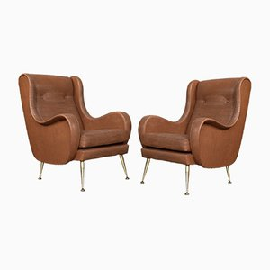 Vintage Italian Armchairs by Aldo Morbelli, Set of 2