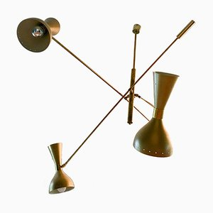 Mid-Century Italian Brass Ceiling Lamp from Stilnovo, 1950s