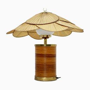 Lámpara de mesa alemana de ratán de Ingo Maurer, años 70