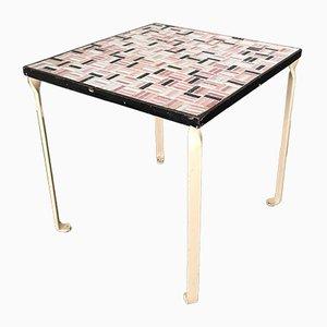 Mesa auxiliar con tablero de azulejos de cerámica, años 50