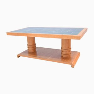Tavolino da caffè vintage in legno di quercia chiaro di Guillerme et Chambron