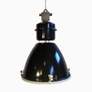 Große schwarze industrielle Emaille Fabriklampe mit Glas Abdeckung, 1960er